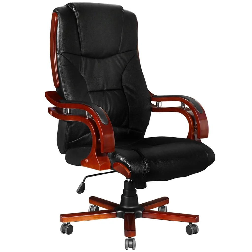 Leather Office Chairs Black Real Leather Office Chair High Back Vidaxl