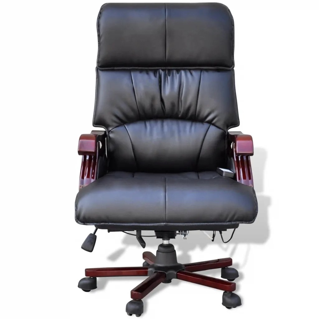 Best Leather Chairs Black Top Real Leather Adjustable Massage Office Chair