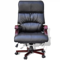 Black Top Real Leather Adjustable Massage Office Chair