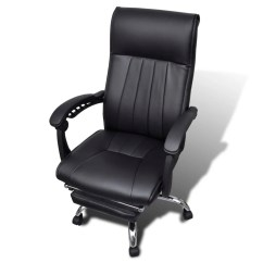 Office Chair Footrest Folding Under 500 Black Artificial Leather With Adjustable