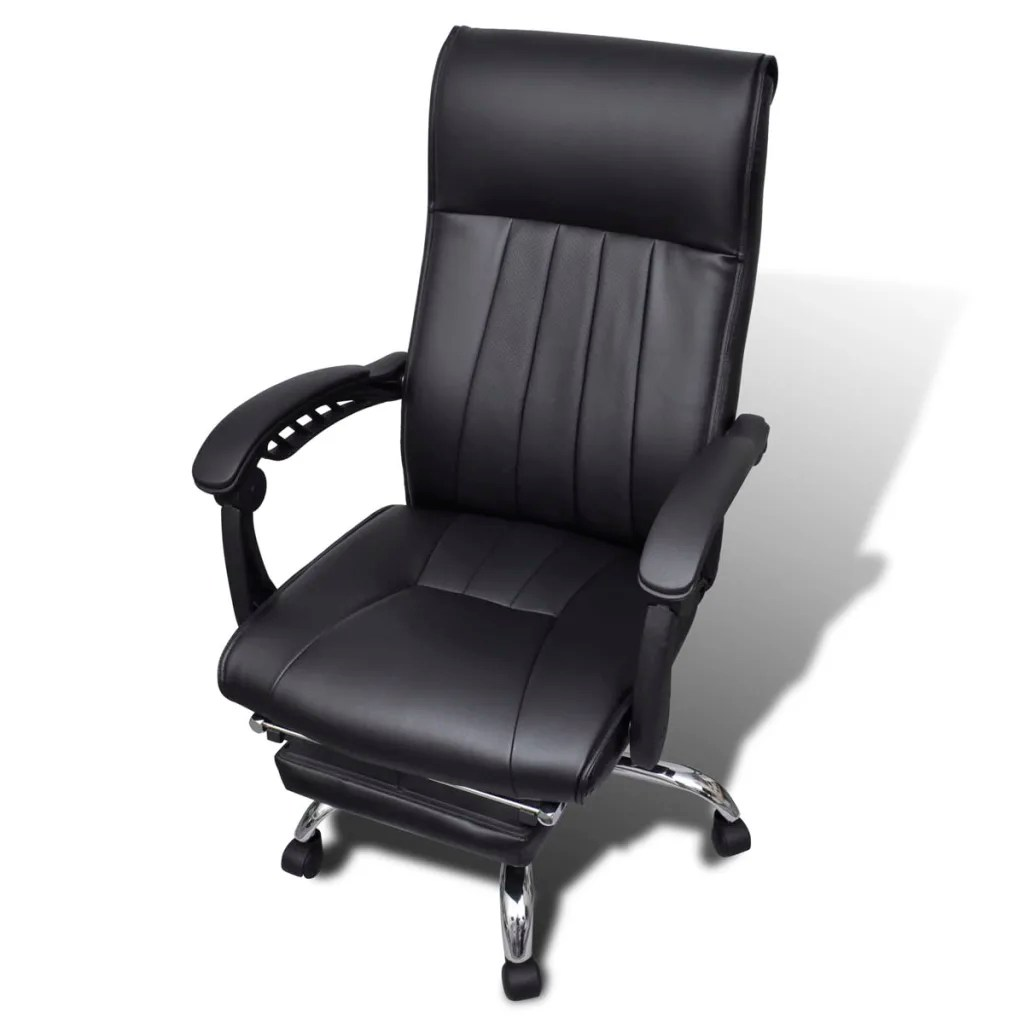 Office Chair Footrest Black Artificial Leather Office Chair With Adjustable