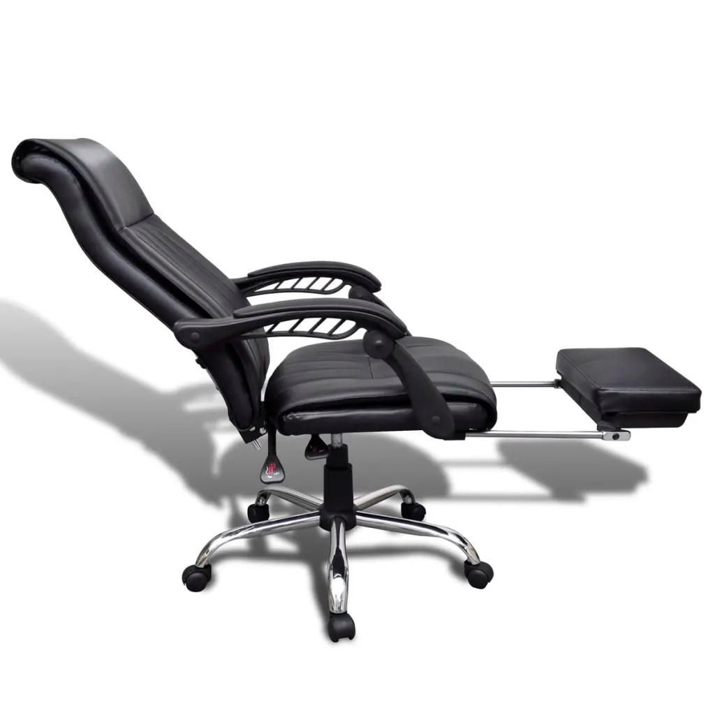ergonomic chair with footrest revolving hof black artificial leather office adjustable