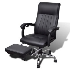 Office Chair Footrest Parsons Faux Leather Chairs Black Artificial With Adjustable