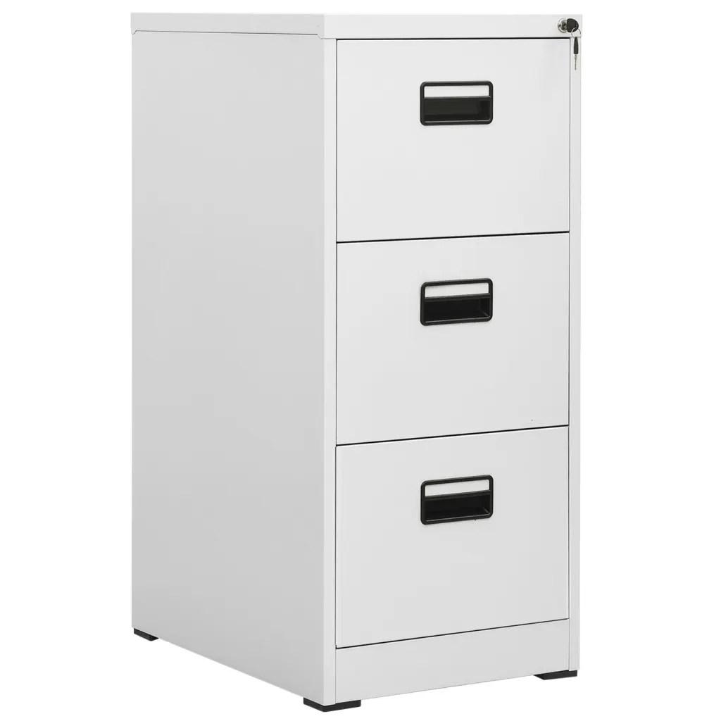vidaXLcouk  Metal Hanging File Cabinet 3 Drawers Grey