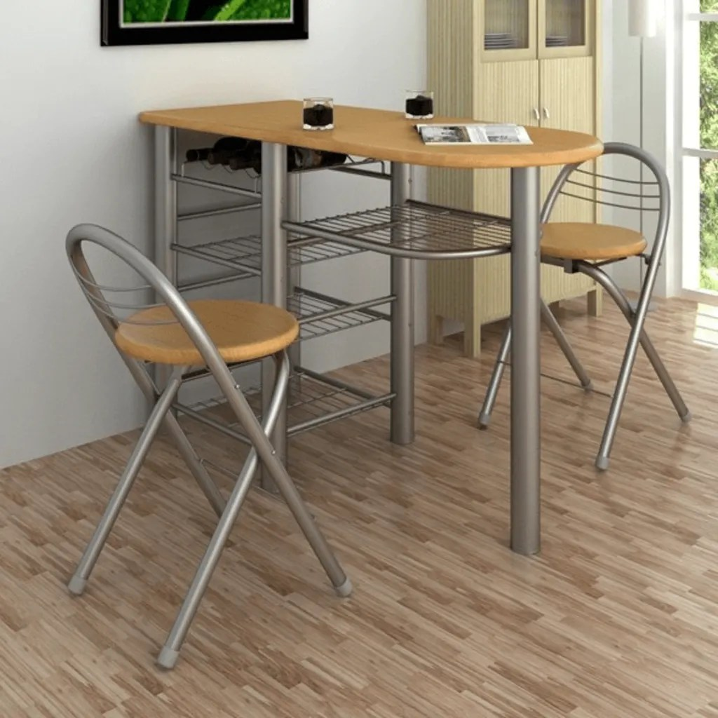 Small Kitchen Dining Table and 2 Chairs Bar Stools Wine