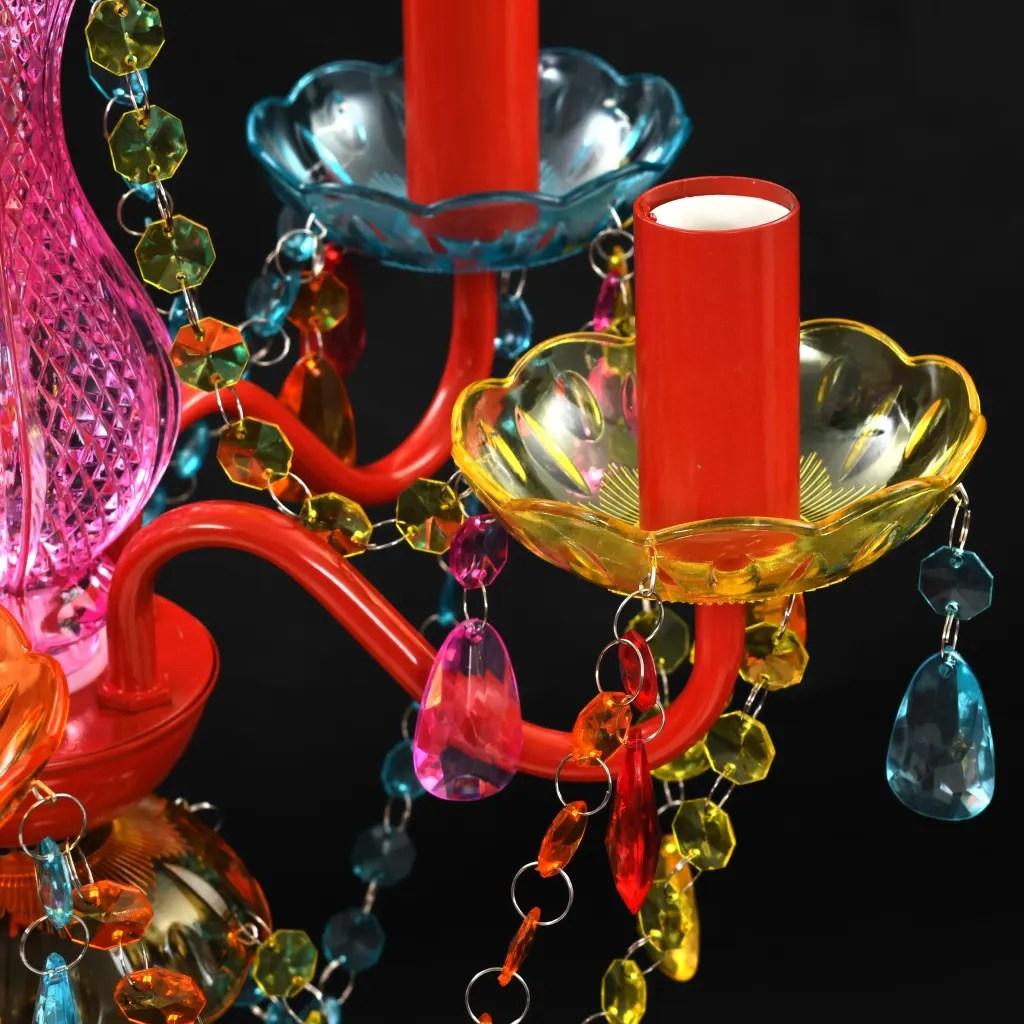 Lmpara araa de techo con cristales de varios colores 5