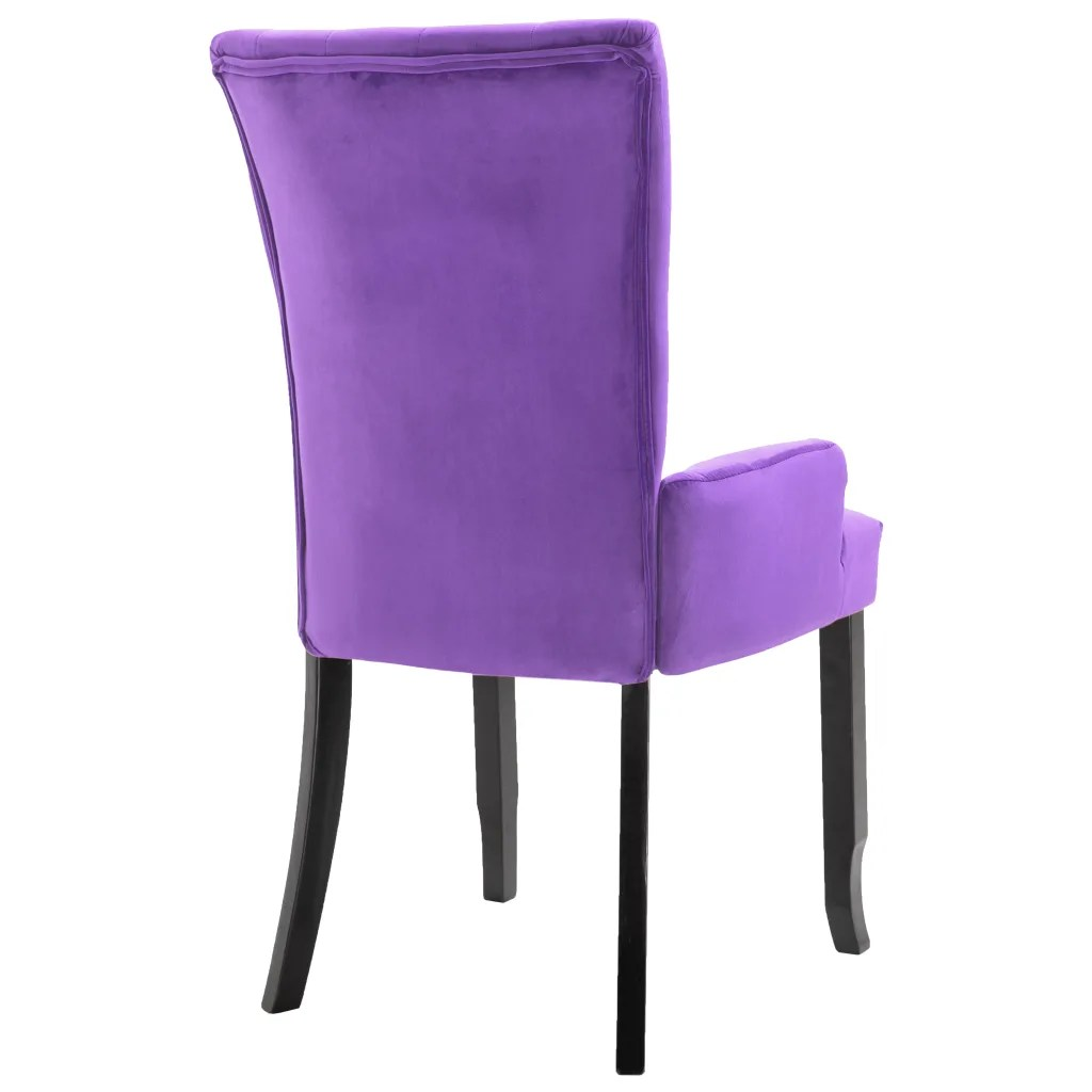 Purple Dining Room Chairs Armchair Dining Chair Black Wood Velvet Coated Purple