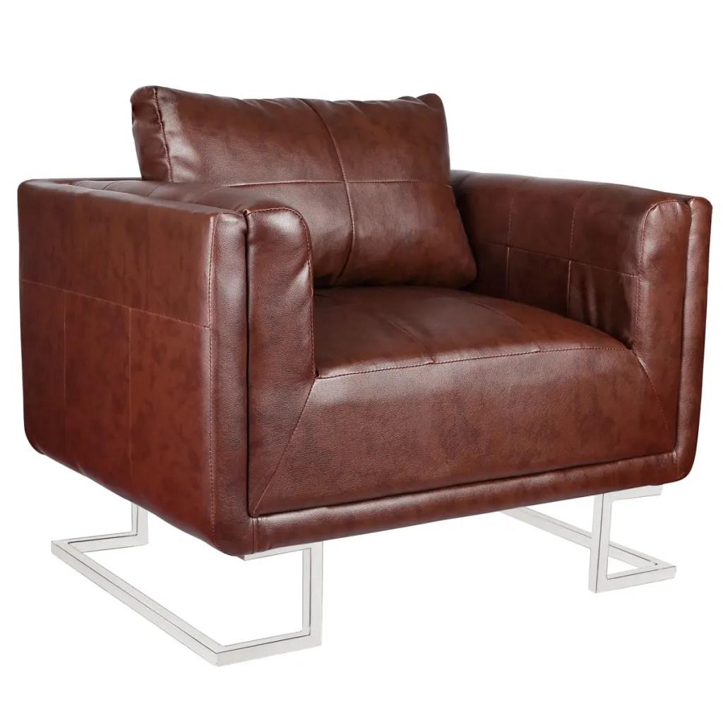 vidaXLnl  Kubus fauteuil met chromen voeten bruin