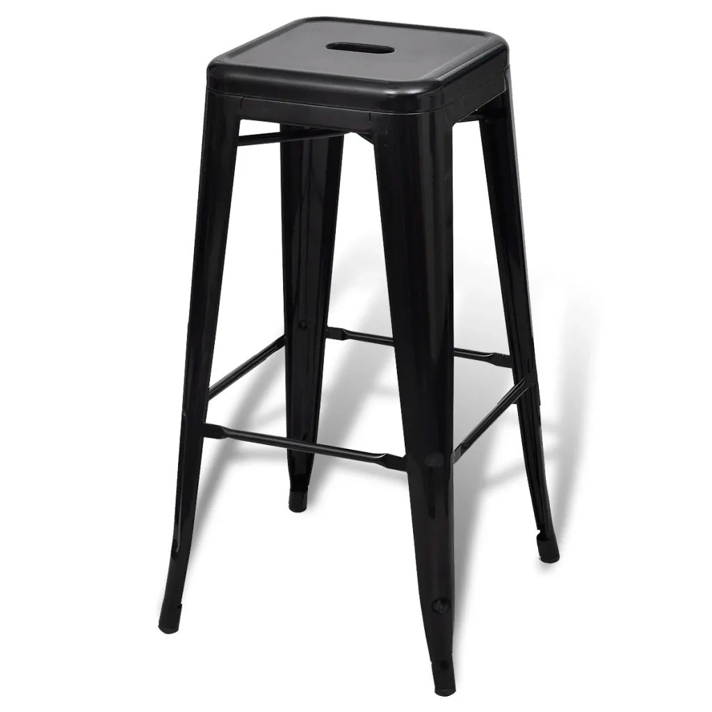 Bar Chair High Chair Bar Stool Square 2 pcs Black