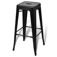 Bar Chair High Chair Bar Stool Square 2 pcs Black | vidaXL.com