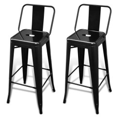 High Bar Stool Chairs Cane Dining Table Chair Stools Square 2 Pcs Back Black