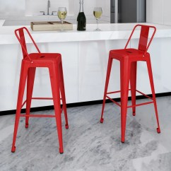 High Bar Stool Chairs Wicker Armchair Chair Stools Square 2 Pcs Back Red