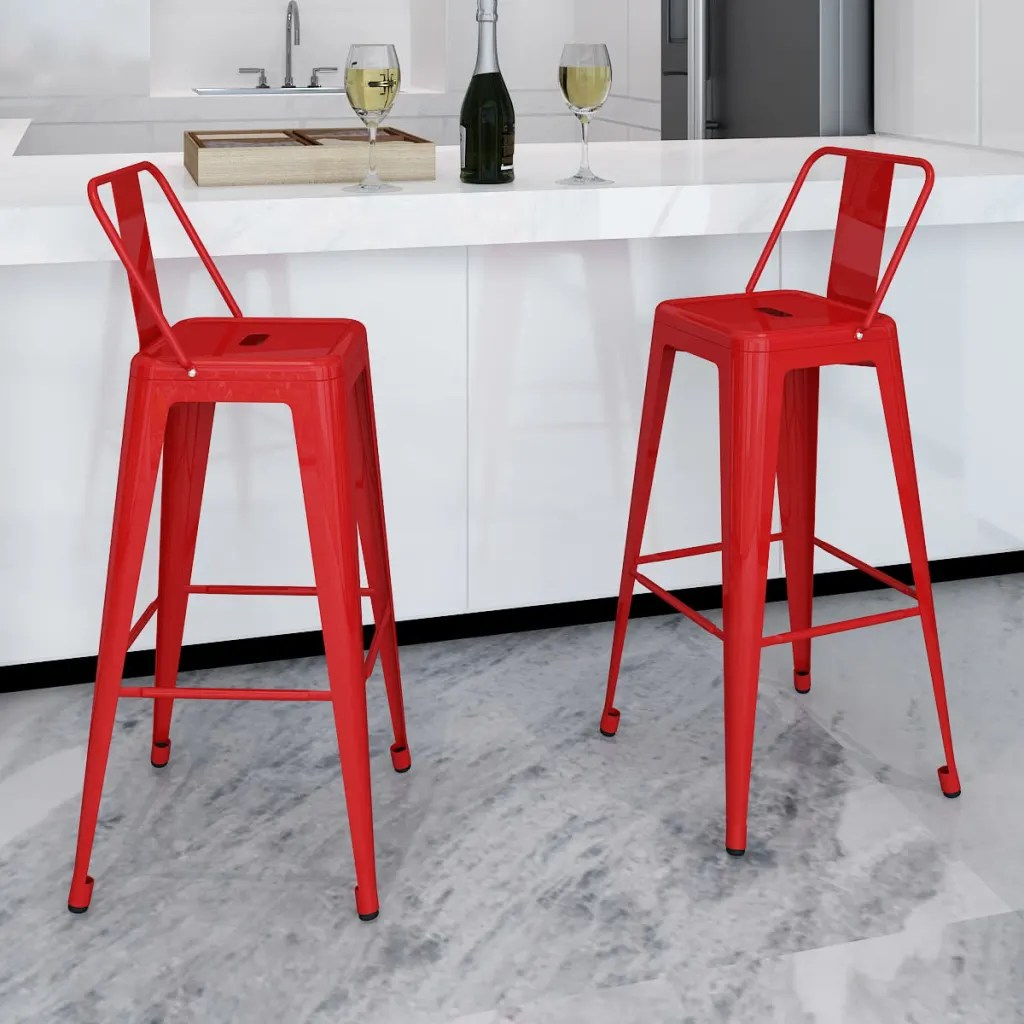 Red High Chair Bar Chair High Chairs Bar Stools Square 2 Pcs Back Red