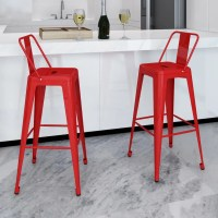 Bar Chair High Chairs Bar Stools Square 2 pcs Back Red ...