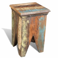 Chair Stool Wood Best Nursery Chairs Reclaimed Hocker Antique Vidaxl