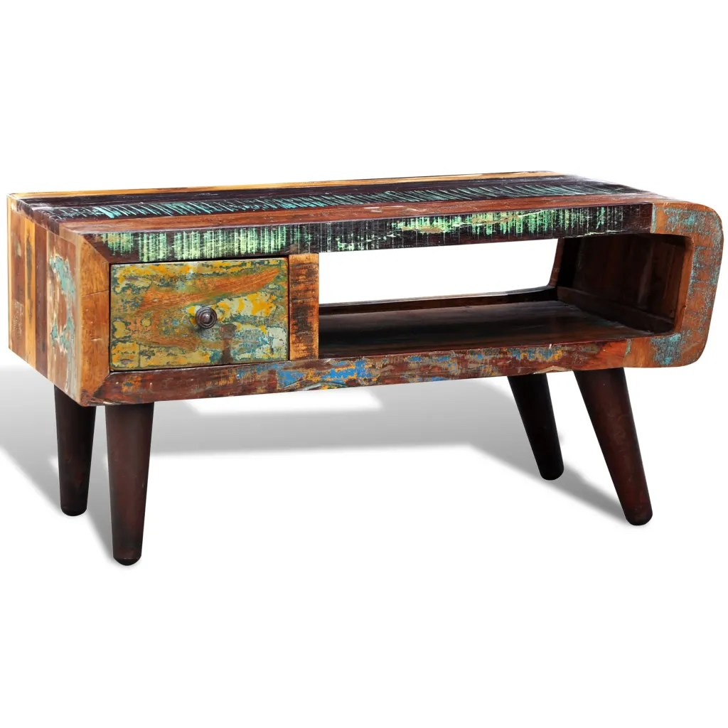 Antiquestyle Reclaimed Wood Coffee Table Curved Edge