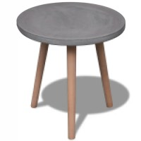 vidaXL.co.uk   Small Round Table with Concrete Top and Oak ...