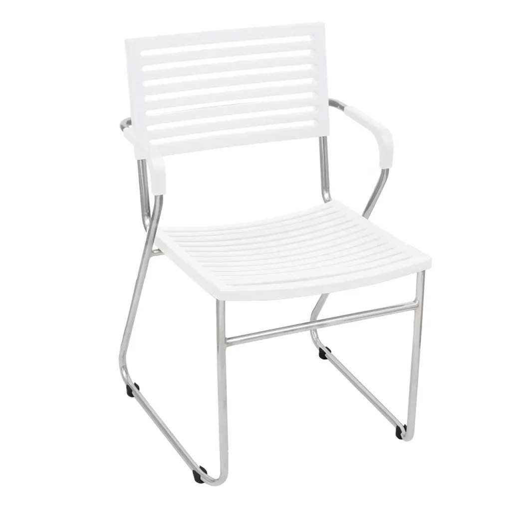 White Stackable Chairs Vidaxl Co Uk White Stackable Arm Chair 2 Pcs