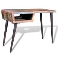 Reclaimed Wood Desk with Iron Legs | vidaXL.com