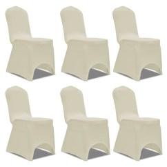 Stretch Chair Covers Australia White Throne Cover Cream 6 Pcs Vidaxl