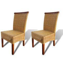 Woven Dining Chair Black Garden Covers Vidaxl Co Uk Set Of 2 Handwoven Rattan With