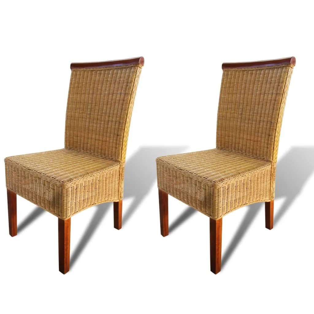 Woven Chair Vidaxl Co Uk Set Of 2 Dining Chair Handwoven Rattan With