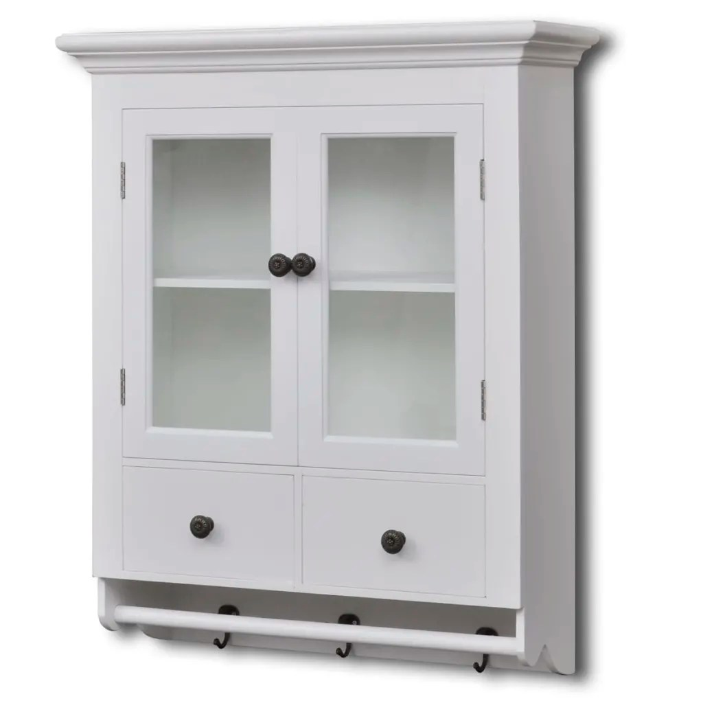 white kitchen wall cabinets tall trash can wooden cabinet with glass door vidaxl