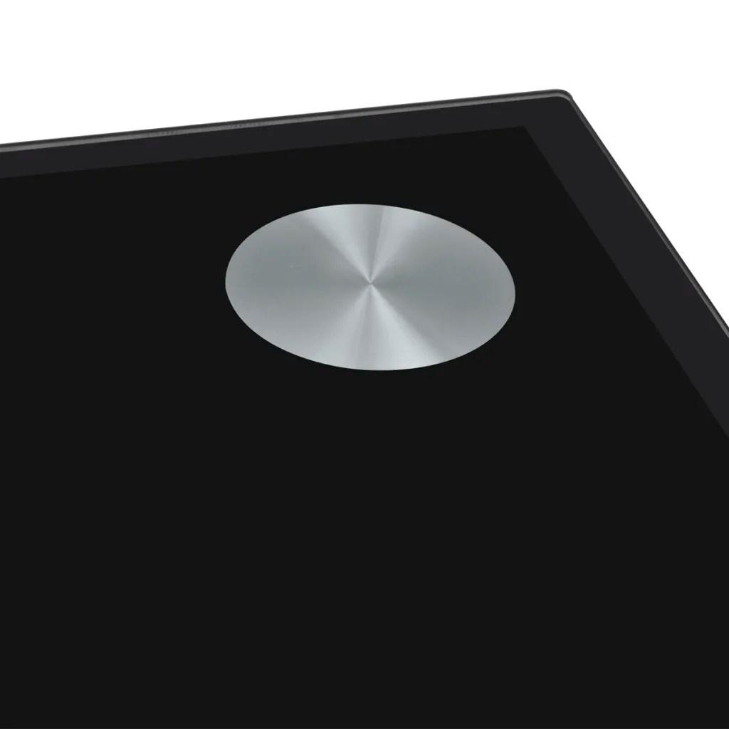 vidaXLnl  Eetkamertafel met zwart glazen blad