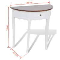 vidaXL.co.uk | White Half-round Console Table with Drawer ...