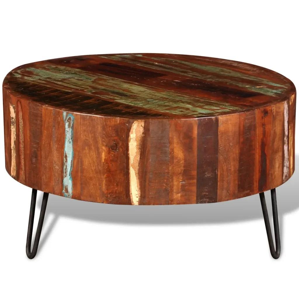vidaXLnl  Salontafel rond gerecycled hout