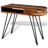 Reclaimed Solid Wood Desk with Iron Pin Legs | vidaXL.com