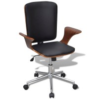 Swivel Office Chair Bentwood with Artificial Leather ...