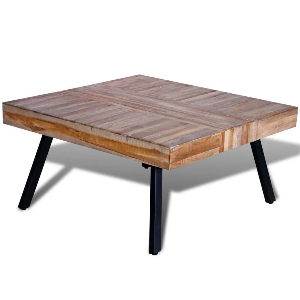 vidaXLcouk  Coffee Table Square Reclaimed Teak