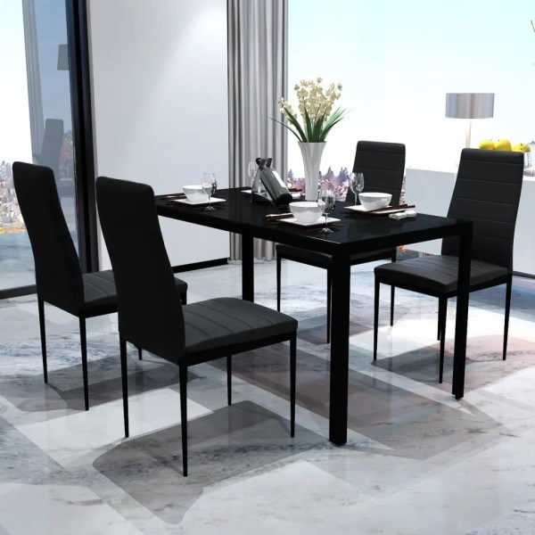 vidaXL.co.uk | Contemporary Dining Set with Table and 4 Chairs Black