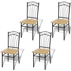 Chair Photo Frame Hd Patio Strap Replacement 4 Dining Chairs With Steel Light Brown Vidaxl