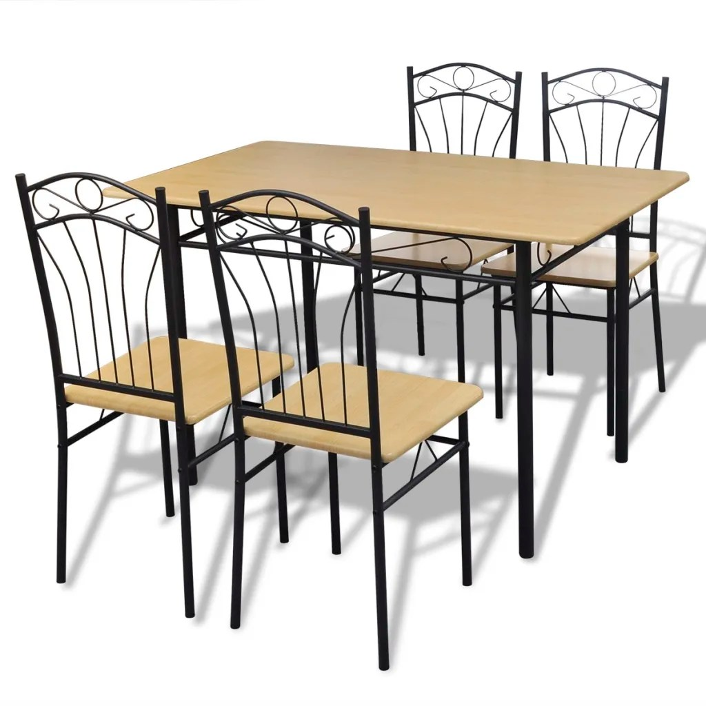 4 chair dining set kneeling review 1 table with chairs light brown vidaxl