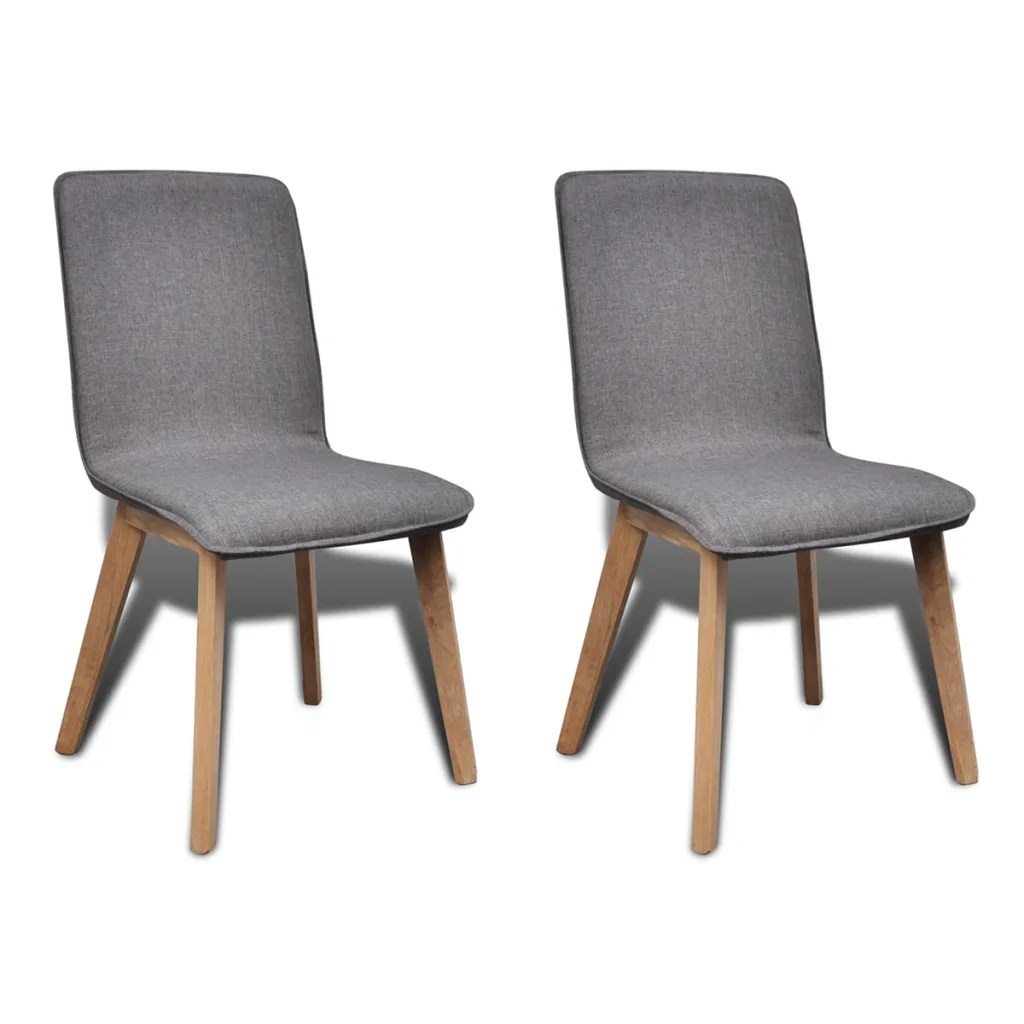 Gray Dining Room Chairs Set Of 2 Dark Gray Fabric Oak Dining Chair Indoor Vidaxl