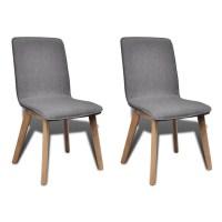 Set of 2 Dark Gray Fabric Oak Dining Chair Indoor   vidaXL.com