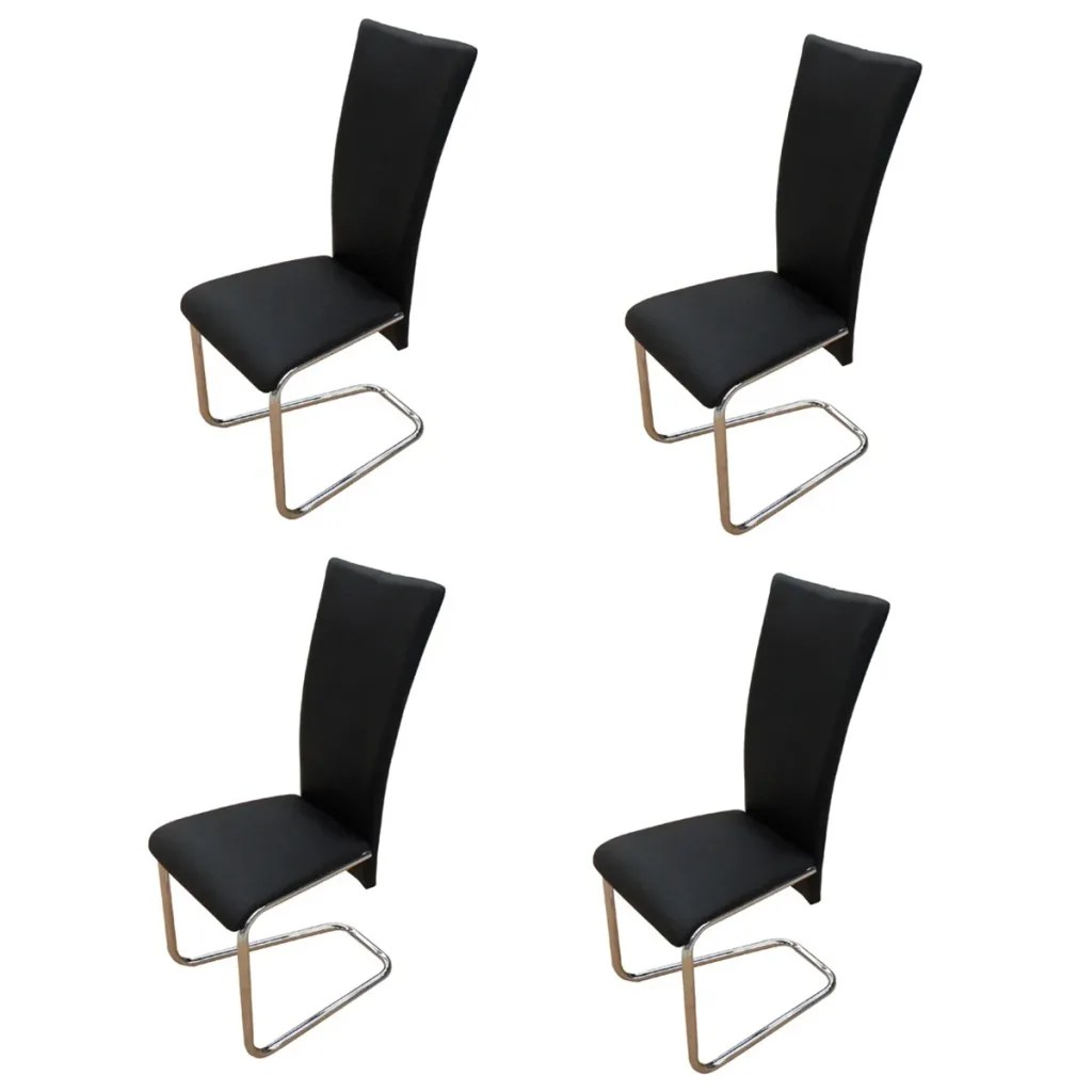 Dining Chairs Black 4 Black Artificial Leather Dining Chairs Vidaxl