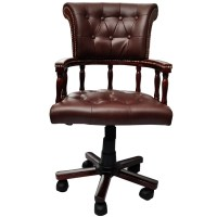 Brown Real Leather Chesterfield Captains Swivel Office