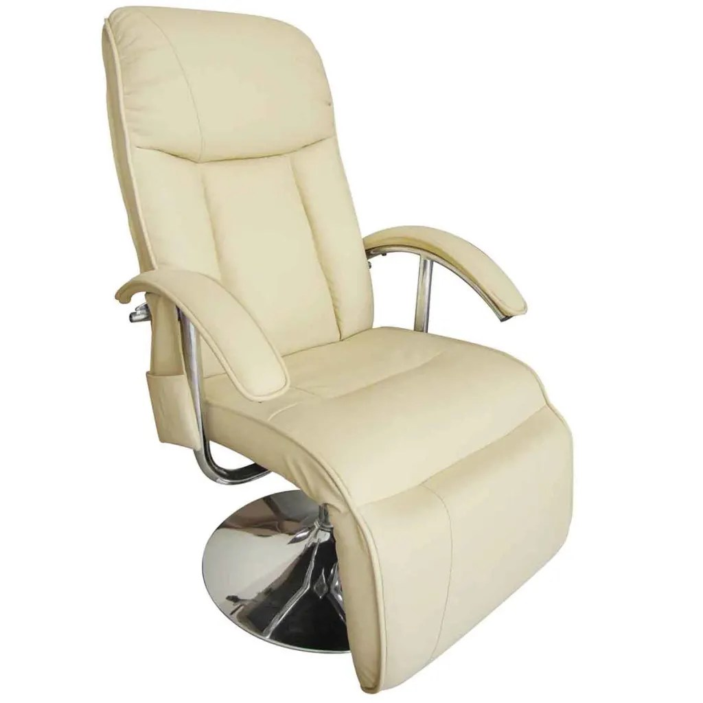 Reflexology Chair Cream White Electric Tv Recliner Massage Chair Vidaxl