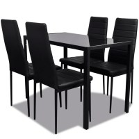 Black Dining Table Set with 4 Chairs Contemporary Design ...