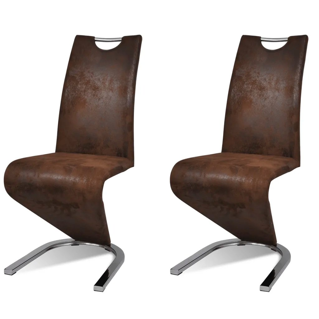 u shaped chair arrangement covers from india set of 2 brown artificial leather cantilever with
