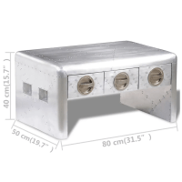 Aviator Aluminum Coffee Table 3 Drawers Vintage Aircraft ...