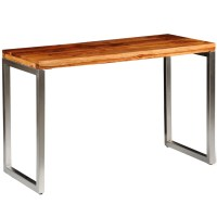 Solid Sheesham Wood Dining Table Office Desk with Steel ...