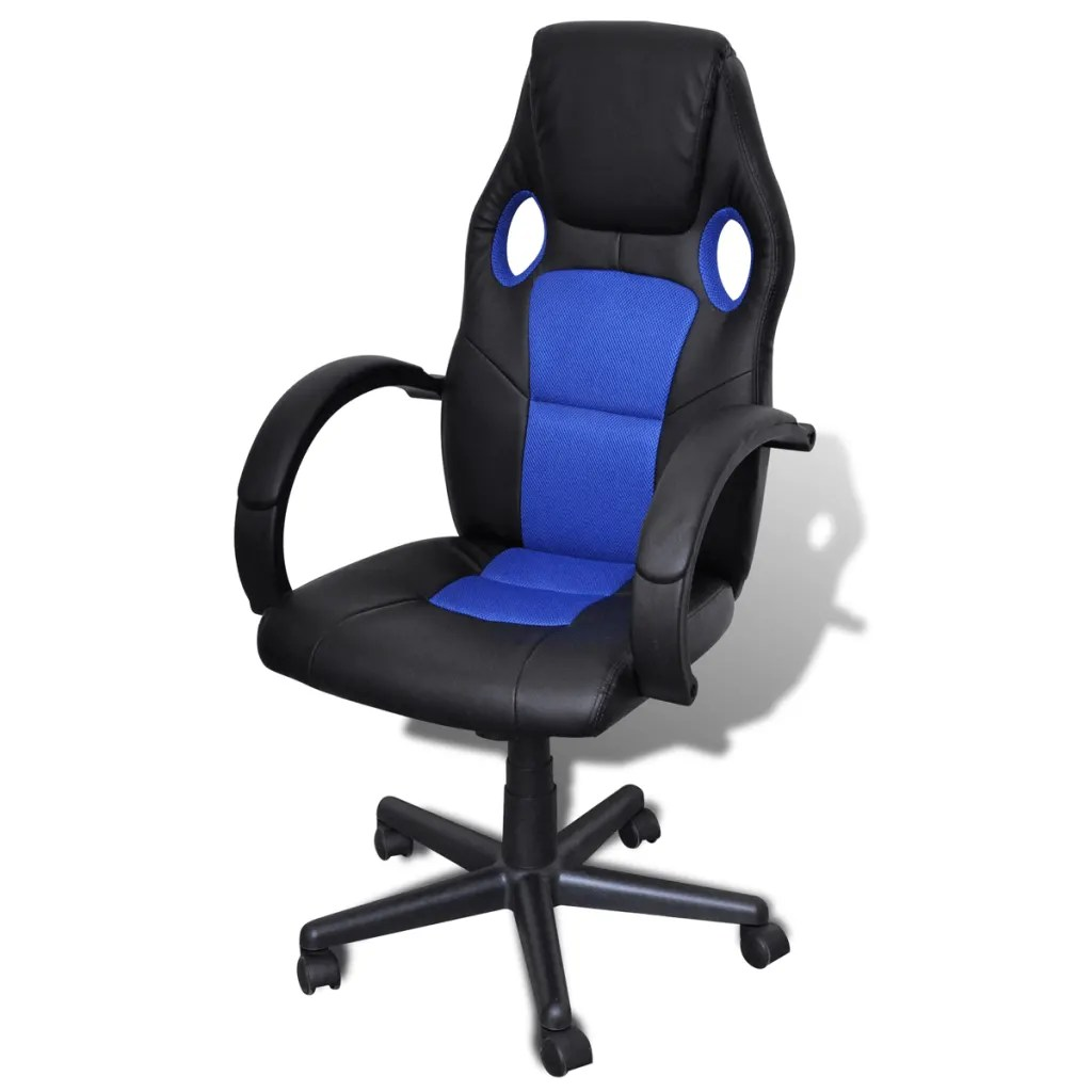 Blue Swivel Chair Artificial Leather Office Chair Height Adjustable Swivel