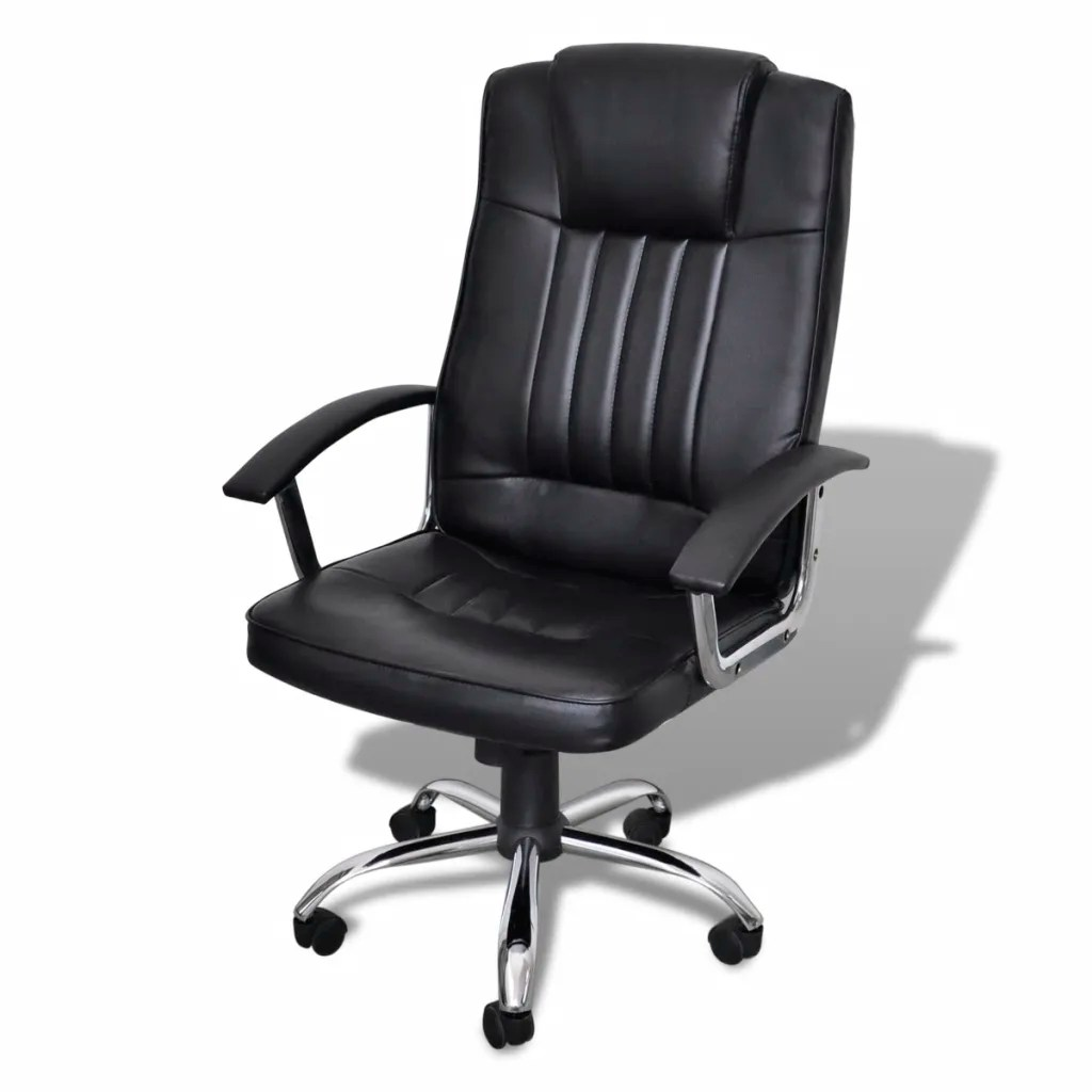 Luxury Office Chair Height Adjustable Swivel Seat Black