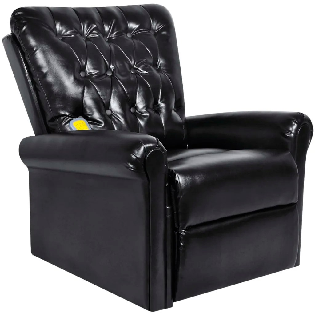 Electric Reclining Chair Black Electric Artificial Leather Recliner Massage Chair