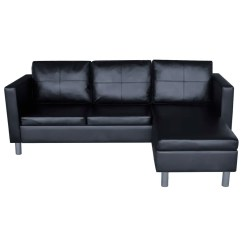3 Seater Black Leather Sofa Verona Sofascore L Shaped Artificial Sectional
