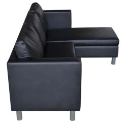3 Seater Sofa Black Leather Chintz Covers L Shaped Artificial Sectional